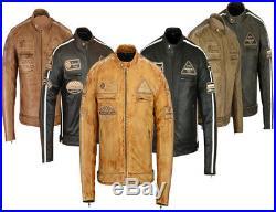 Motard Veste Blouson En Cuir pour Moto Homme Vintage Chopper Blouson Cuir Neuf
