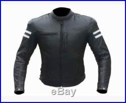 Motard Veste Blouson En Cuir pour Moto Homme Vintage Custom Blouson Cuir BIESSE