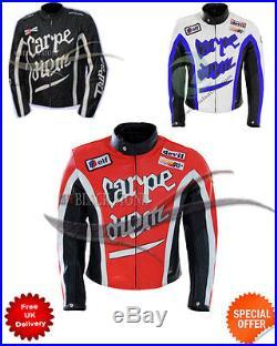Moto Carpe Diem Style Veste en Cuir Blanc Noir et Rouge Couleur Toutes Tailles