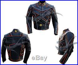 Moto Cuir Veste avec Protection Xmen Style Compatible Personnalisé Toutes les