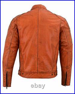Moto Veste Blouson Cuir Vintage Protections coudes et épaules homologuées CE