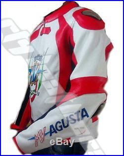 Mv Agusta Moto Veste Cuir avec Ce Armor Protection