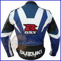 NEUF SUZUKI GSX moto motard course ORIGINAL CUIR PROTECTION veste