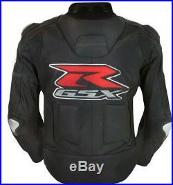 NOIR SUZUKI GSXR Sports Cuir Veste MOTOGP Moto Cuir Veste Cuir Biker Veste EU-56