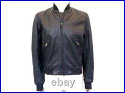 Neuf Blouson Agnes B Serie B T48 M Veste En Cuir Bleu New Leather Jacket 1450