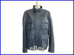 Neuf Blouson Belstaff Burgess 71020127 50 M En Cuir Bleu Veste Jacket Coat 1660