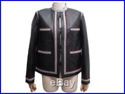 Neuf Blouson Chanel P51855 L 42 Veste En Cuir Noir Black Leather Jacket 7900