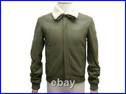 Neuf Blouson Christian Dior S 44 Veste En Cuir Agneau Kaki Leather Jacket 3100