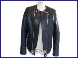 Neuf Blouson En Cuir Balmain 52 It 48 Fr M Noir Biker Motard Veste Jacket 3510