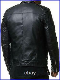 Neuf Homme Véritable Cuir D'Agneau Veste Motard Slim Fit Moto Blouson Noir