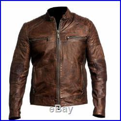 Neuf Hommes Moto Motard Vintage Délavé Marron Blouson Veste Cuir Antique
