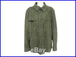 Neuf Veste Berluti 58 XL Blouson En Cuir Kaki Manteau Leather Jacket Coat 8500