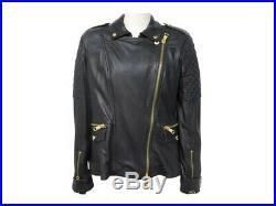 Neuf Veste Burberry Blouson Perfecto T 46 XL En Cuir Noir Leather Jacket 1700