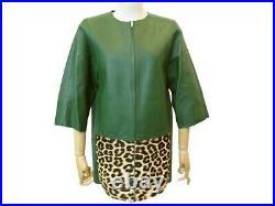 Neuf Veste Celine 42 L En Cuir Agneau Vert Leopard Blouson Manteau Jacket 4600