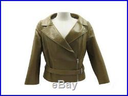 Neuf Veste Celine Blouson Motard 42 L En Cuir Kaki Leather Bicker Jacket 1950