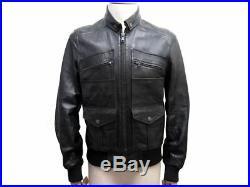 Neuf Veste Dolce & Gabbana Blouson 50 It 48 Fr M Cuir Noir Leather Jacket 1850
