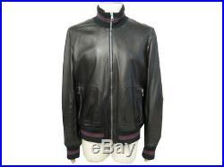 Neuf Veste Gucci Blouson 58 It 56 Fr XL Cuir Noir Bande Web Leather Jacket 3200