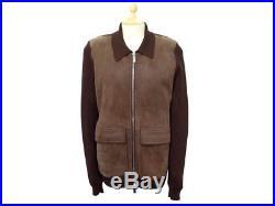 Neuf Veste Hermes Blouson S 46 S En Laine Cuir Marron Pull Manteau Jacket 3500