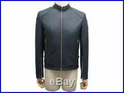 Neuf Veste Sandro V6936s-44 Blouson 48 M En Cuir Bleu Marine Biker Jacket 800