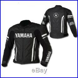 Noir Yamaha Vêtement En Cuir Motorbike Biker Cuir Veste Moto Cuir Veste Eu-52