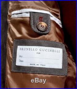 Nwt Brunello Cucinelli Gris Cuir Daim Blouson Bomber Veste 48 S