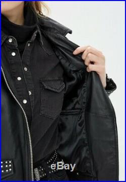 Oakwood Blouson Veste Neuf Femme En Cuir Noir A Clous Taille XL