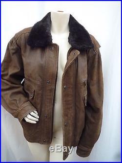 PP//MAC DOUGLAS blouson/veste cuir de buffle col fourrure MARRON taille 48/52