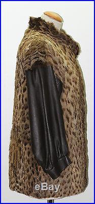 PUR VINTAGE veste blouson en cuir marron et fourrure de leopard t 40 authentique