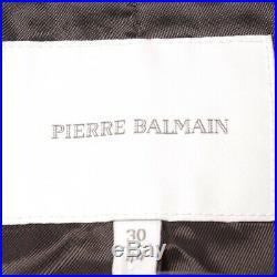 Pierre Balmain Veste en Cuir Gr. De 38 It 44 Marron Femme Blouson Motard