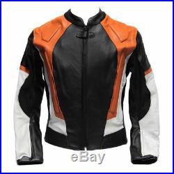 Pour Des Hommes Noir & Orange Pro Racing Biker Des Sports Moto Cuir Veste FR