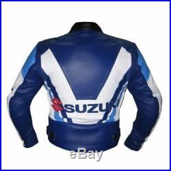Pour Des Hommes Suzuki Courses Moto Des Sports Biker Peau De Vache Cuir Veste FR