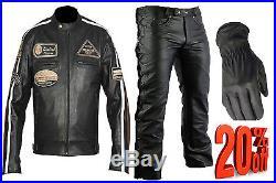 Pour Hommes Noir Moto, Motard Veste Blousons En Cuir + Gants et pantalons