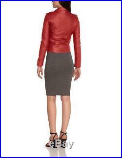 Promotion! Blouson Perfecto Schott Nyc Neuf Cuir D'agneau Femme Corail T L