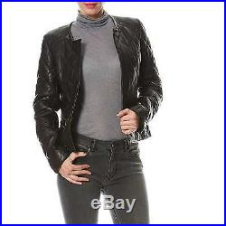 Promotion! Blouson Veste Cuir Neuf John & Yoko Femme 100% Cuir Noir T 38
