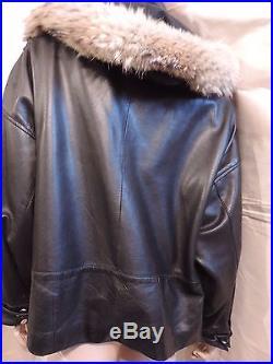 Pur Vintage 80 Veste Blouson Cuir Noir Fur Renard/ 42 44 Jacket Perfecto