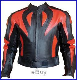ROUGE FLAMME Cuir Biker Veste Moto Cuir Veste MOTOGP Hommes Sports Cuir Veste