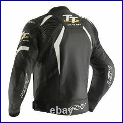 RST IOM TT Tribune CE Noir Blanc Veste de moto en cuir taille UK 46 EU 56