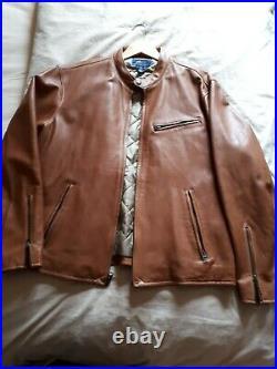 Ralph Lauren. Blouson cuir moto Café Racer Jacket. Cognac. Taille XL