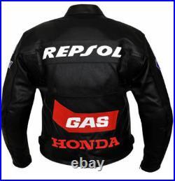 Repsol Biker Cuir Veste Moto Cuir Veste Vêtement En Cuir Motorbike Eu 48-54-60