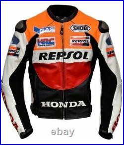 Repsol Marc Marquez Hommes Moto Veste Cuir Courses MOTOGP Motard Blousons Cuir
