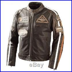 Retro Classic Blouson Veste Cuir Homme Moto, Blouson Cuir Moto, Veste Cuir. 2xl