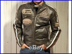 Retro Classic Blouson Veste Cuir Homme Moto, Blouson Cuir Moto, Veste Cuir. XL