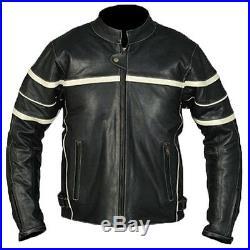 Rétro MOTO VESTE EN CUIR, blouson moto, PROTECTEURS, motard, bascule, cuir