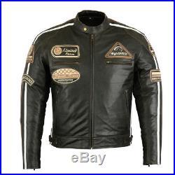 Rétro Veste de moto en cuir vintage, apparence usagée Blouson biker chopper
