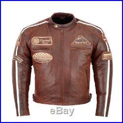 Retro Vintage Cafe Racer Blouson, Hommes Veste En Cuir Moto, Blouson Veste En Cuir
