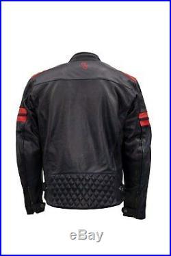 Rusty Stitches Jari Marine/Rouge 52 / L Veste de Moto Urbain / Classique Neuf