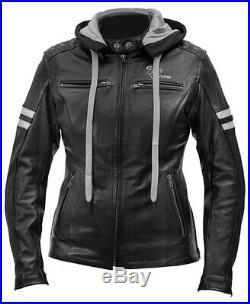 Rusty Stitches Joyce Capuche Femmes Blouson Moto Veste en Cuir Cool Avec Capuche