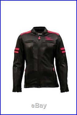Rusty Stitches Joyce Femme Veste en Cuir Noir/Rose 38 Veste de Moto Urbain Neuf