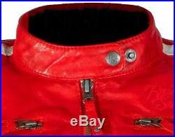 Rusty Stitches Uma Rouge Veste de Femme Moto en Cuir et Blanc Taillé / Cintré