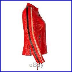 Rusty Stitches Uma Veste en Cuir Femmes Rouge Gr. 36 Moto Rétro Neuf